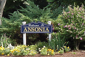 Image of Welcome to Ansonia sign in bushes