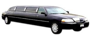 Image of 8-10 passenger black Glastonbury Lincoln Town stretch limousine