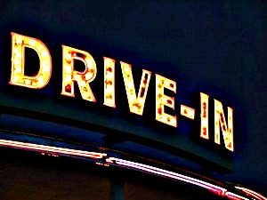 Image of Mansfield CT drive-in movie theater sign
