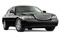 Image of black Lincoln Town car for airport service