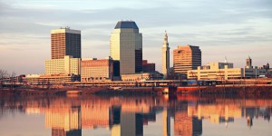 This is an imagine of the Springfield, MA skyline. Our limo company in Springfield can get you around.